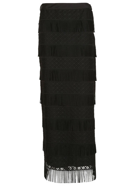 Alberta Ferretti Fringed Detailed Skirt in black