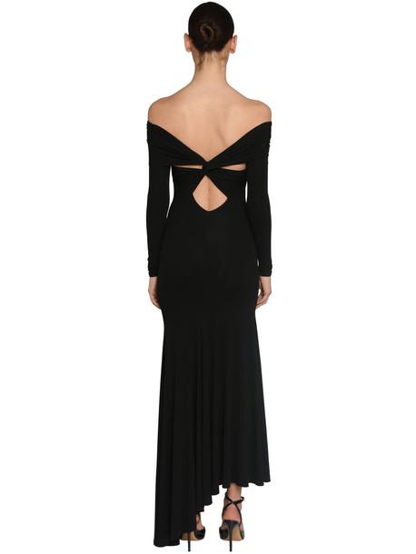 ALEXANDRE VAUTHIER Off Shoulder Stretch Jersey Midi Dress in black