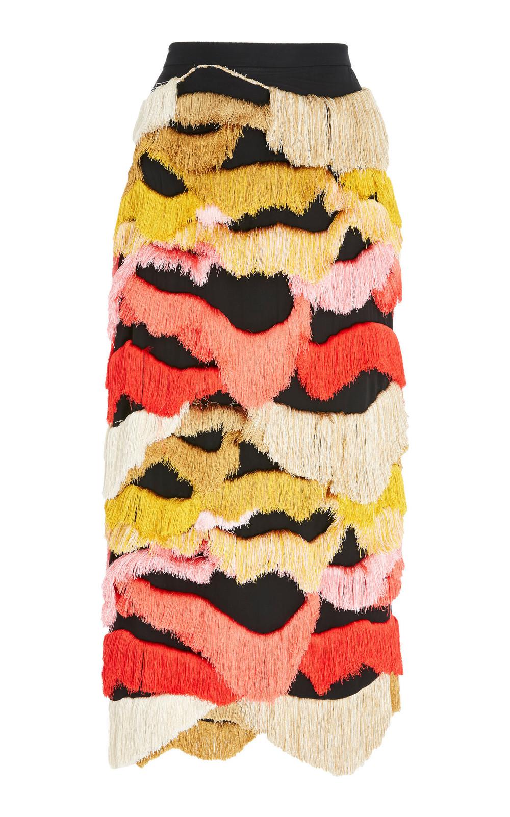 Rachel Comey Caposhi Fringe Pencil Skirt in metallic