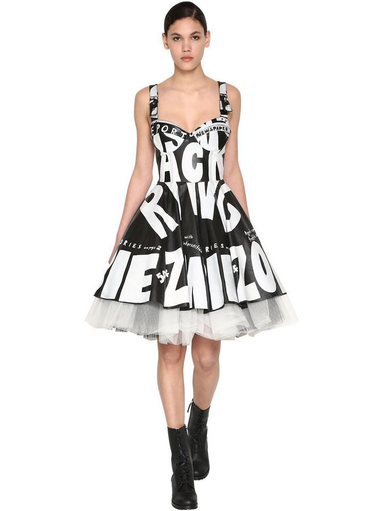 JEREMY SCOTT Printed Leather Dress in black / white