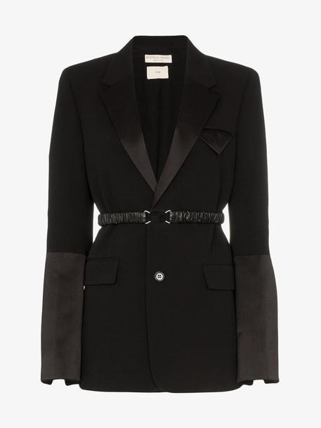 Bottega Veneta Belted silk detail blazer in black