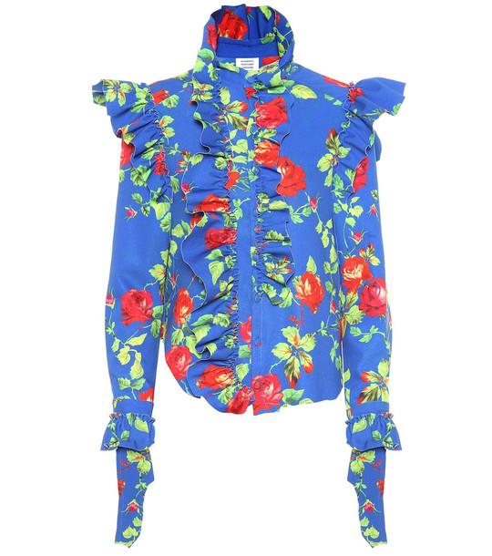 Vetements Floral crêpe shirt in blue