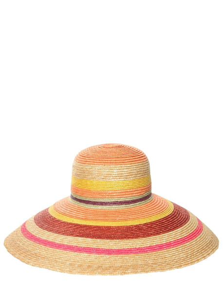 MISSONI Striped Wide Brim Straw Hat in multi / beige