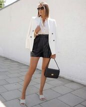 shorts,black shorts,leather shorts,sandals,black bag,white blazer,white shirt