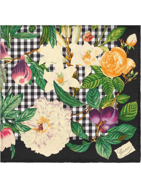 Gucci flowers and fruits scarf in black