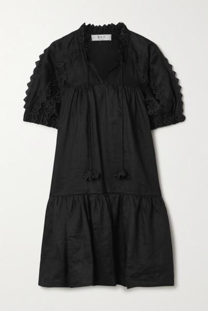 Sea - Zig Zag Embroidered Ramie Mini Dress - Black