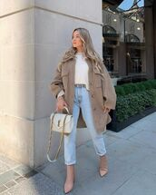 shoes,ankle boots,oversized jacket,high waisted jeans,white sweater,ysl bag,white bag
