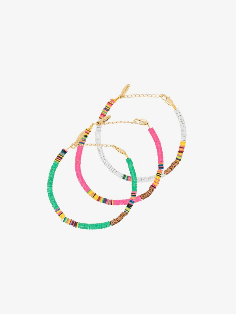 ALL THE MUST gold-plated beaded anklet set in pink