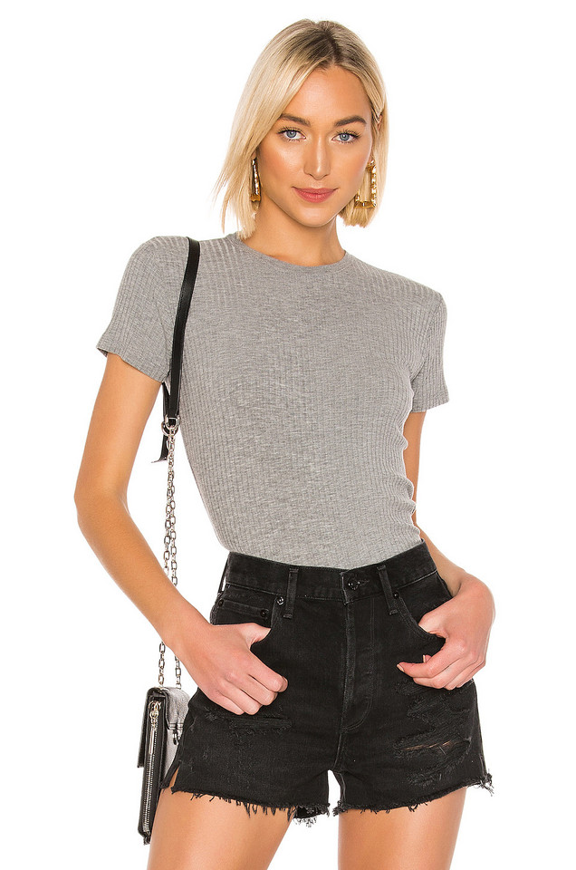 ATM Anthony Thomas Melillo Wide Rib Cap Sleeve Top in gray