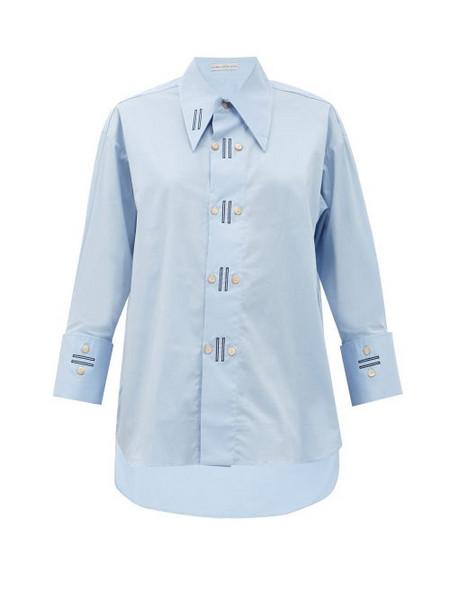Palmer/harding Palmer//harding - Marcai Exaggerated-collar Cotton-blend Shirt - Womens - Light Blue