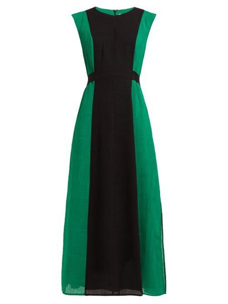 Cefinn - Contrast Panel Tie Waist Voile Midi Dress - Womens - Green Multi
