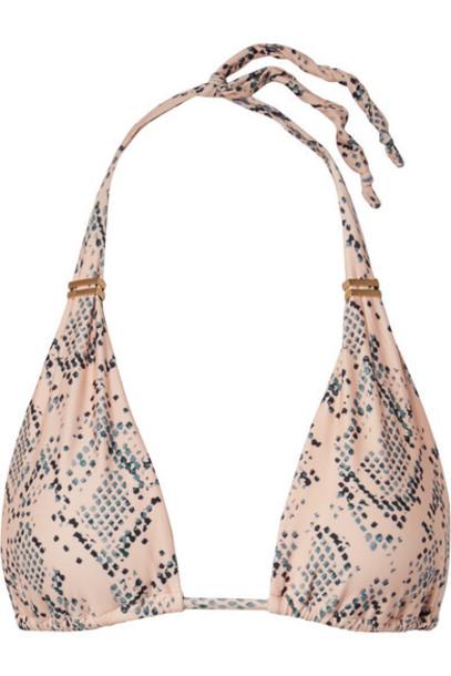 ViX - Nusa Bia Embellished Snake-print Triangle Bikini Top - Snake print