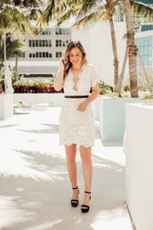 miami + dallas based lifestyle and fashion blog,blogger,dress,shoes,lace dress,high heel sandals,white lace dress