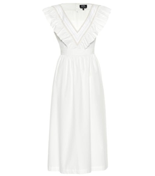 A.P.C. Marty cotton midi dress in white