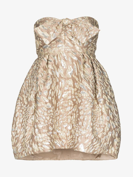 Alexandre Vauthier Bustier pouf mini dress in neutrals