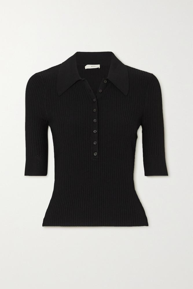 A.L.C. A.L.C. - A.l.c. X Petra Flannery Amari Ribbed-knit Top - Black