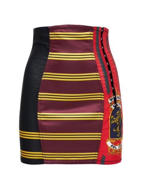 PHILOSOPHY DI LORENZO SERAFINI Printed Mini Skirt in red / multi