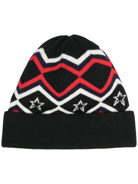 Perfect Moment pattern merino beanie hat in black