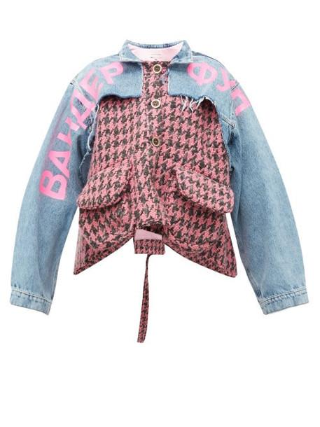 Natasha Zinko - Houndstooth And Denim Panelled Jacket - Womens - Pink Multi