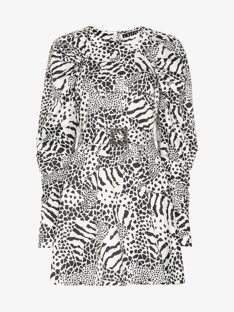 ROTATE Tara printed mini dress in black