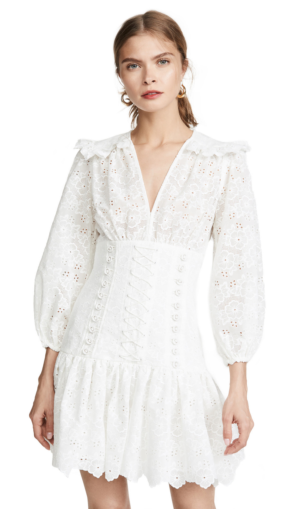 Zimmermann Honour Corset Lace Dress in ivory
