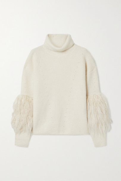 Sally LaPointe - Shearling-trimmed Ribbed Cashmere And Silk-blend Turtleneck Sweater - Cream
