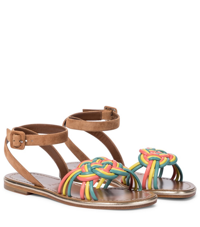 Christian Louboutin Elle suede and leather sandals in brown