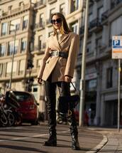 jacket,blazer,black boots,over the knee boots,dior bag,black bag,black belt,black pants,turtleneck