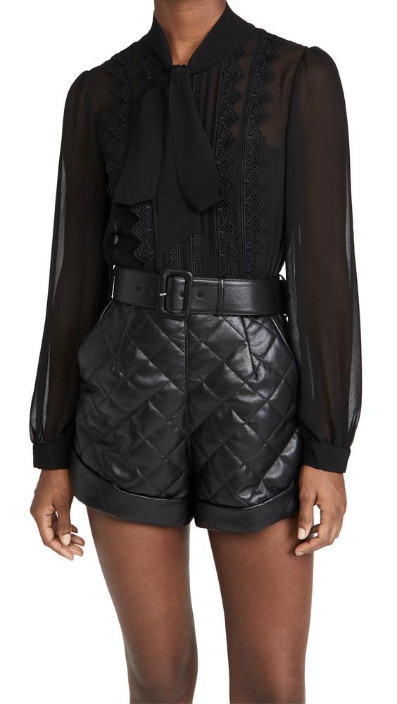 Self Portrait Faux Leather Lace Trimmed Romper in black