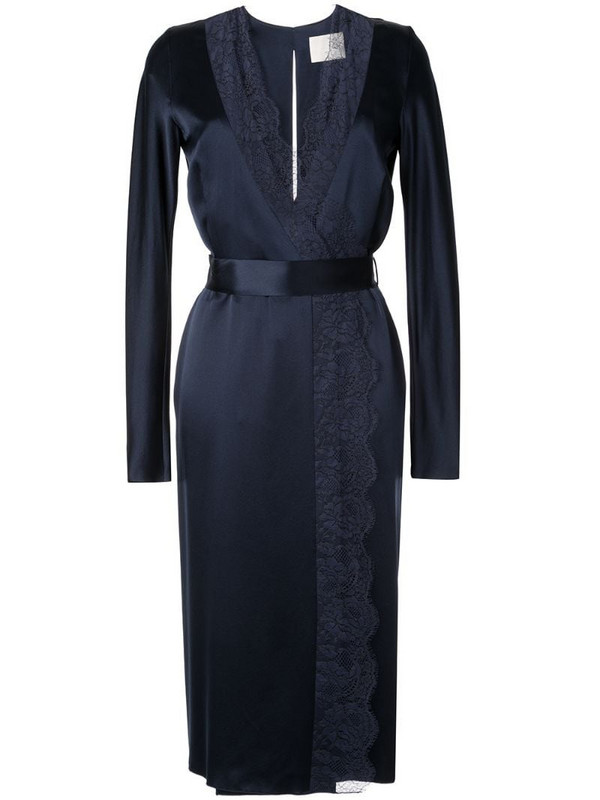 Dion Lee satin lace-panelled dress in blue