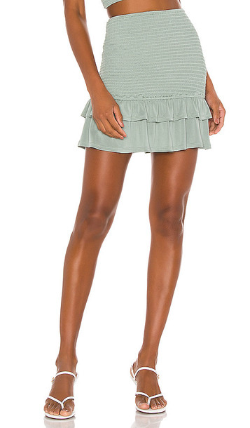 Privacy Please Oxnard Mini Skirt in Sage in green