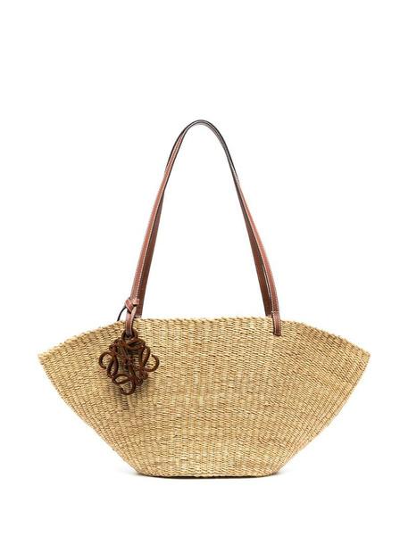 LOEWE woven-raffia shoulder bag in neutrals