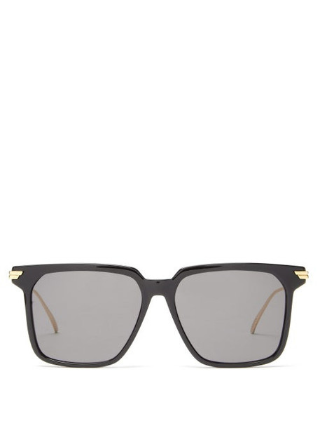 Bottega Veneta - Square Acetate Sunglasses - Womens - Black