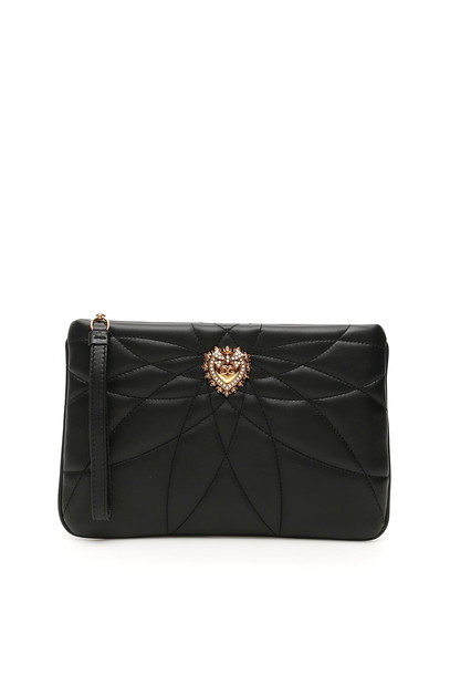 Dolce & Gabbana Matelasse Nappa Devotion Pouch in black