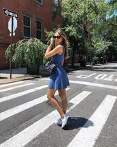 dress,mini dress,blue dress,sleeveless dress,white sneakers,crossbody bag,zara