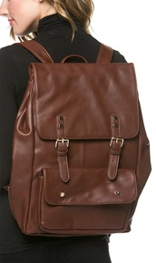 bag,faux leather backpack in brown