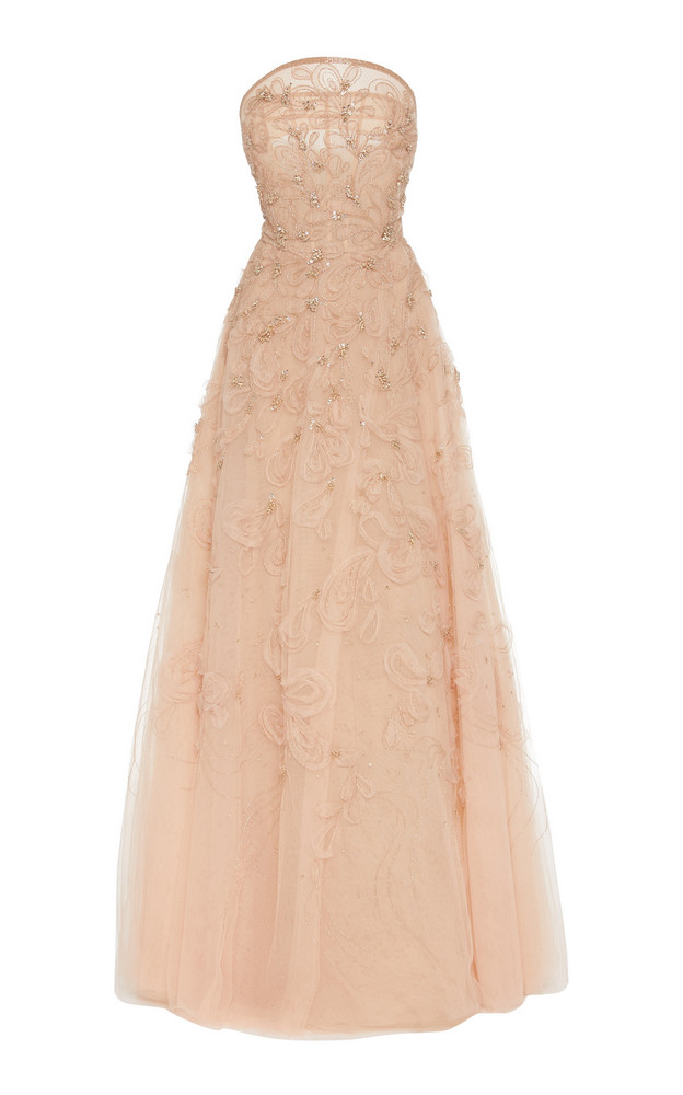 Marchesa Embellished Organza Strapless Gown Size: 2 in pink