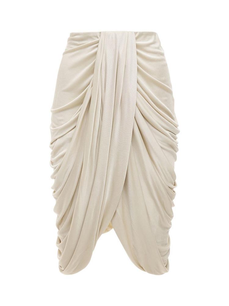 ISABEL MARANT Dotina Draped Jersey Midi Skirt in ecru