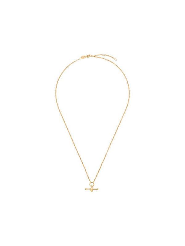 Northskull t bar skull necklace in gold