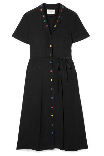 HVN - Maria Embroidered Crepe De Chine Midi Dress - Black