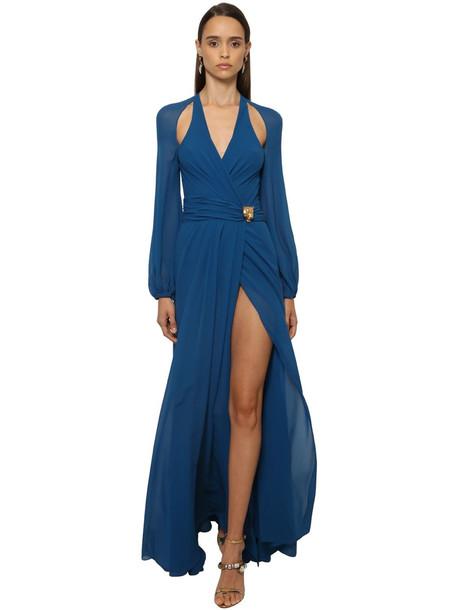 ROBERTO CAVALLI Silk Georgette Long Dress W/ Cutouts in blue