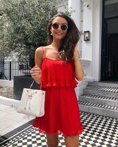 dress,pleated dress,mini dress,red dress,sleeveless dress,white bag,chanel bag