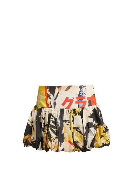 Marques'almeida - Poster Print Cotton Mini Skirt - Womens - Multi