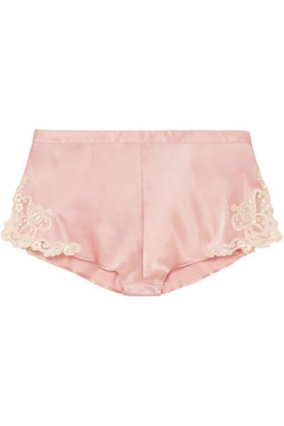 La Perla - Maison Embroidered Lace-trimmed Silk-blend Satin Shorts - Pink