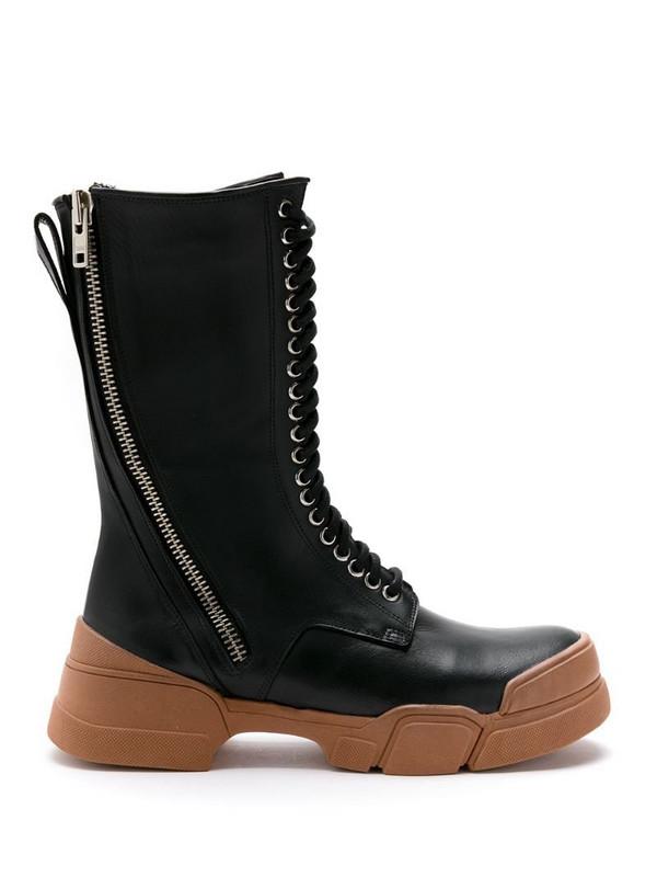 Uma - Raquel Davidowicz leather Vaticano combat boots in black