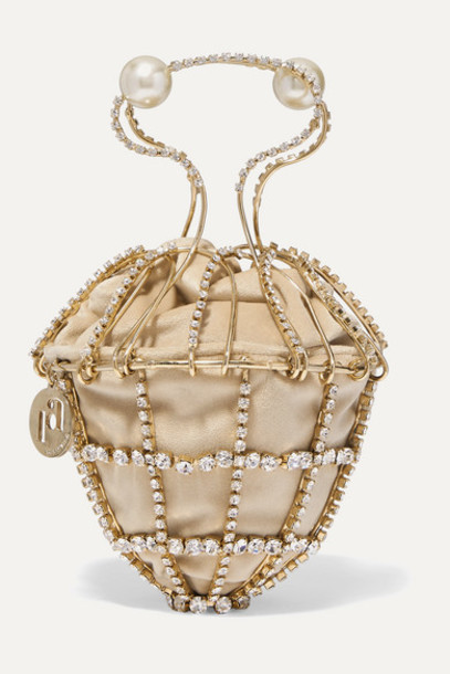 Rosantica - Ginestra Embellished Gold-tone And Velvet Tote - Beige