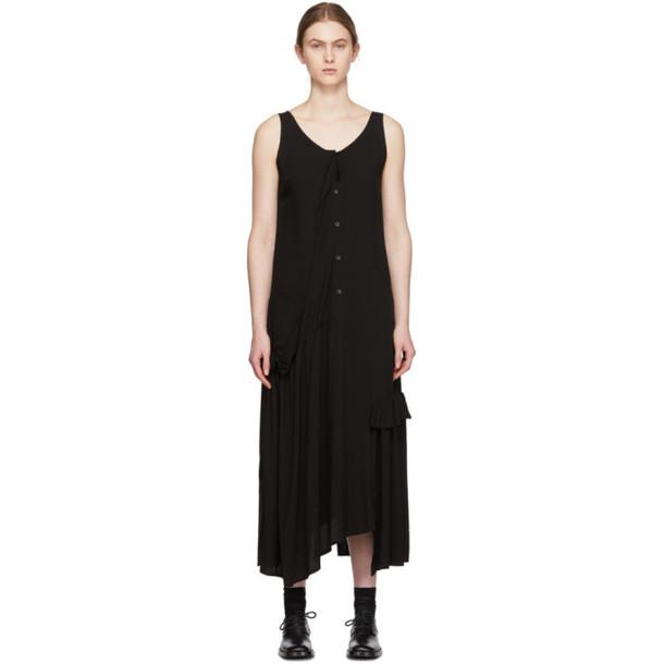 Yohji Yamamoto Black Gather Sleeveless Dress