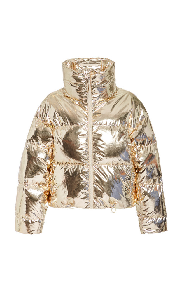 Cordova Mont Blanc Metallic Quilted Shell Down Bomber Jacket Size: XS in gold