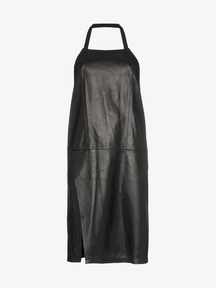 Sandy Liang congee leather halterneck dress in black