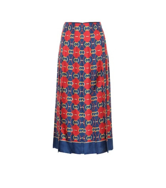 Gucci Printed pleated silk midi skirt in red